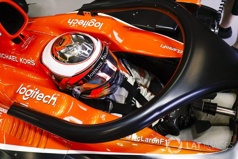 """Stoffel Vandoorne, McLaren con el halo tradiconal, no el """"Ángel"""""""