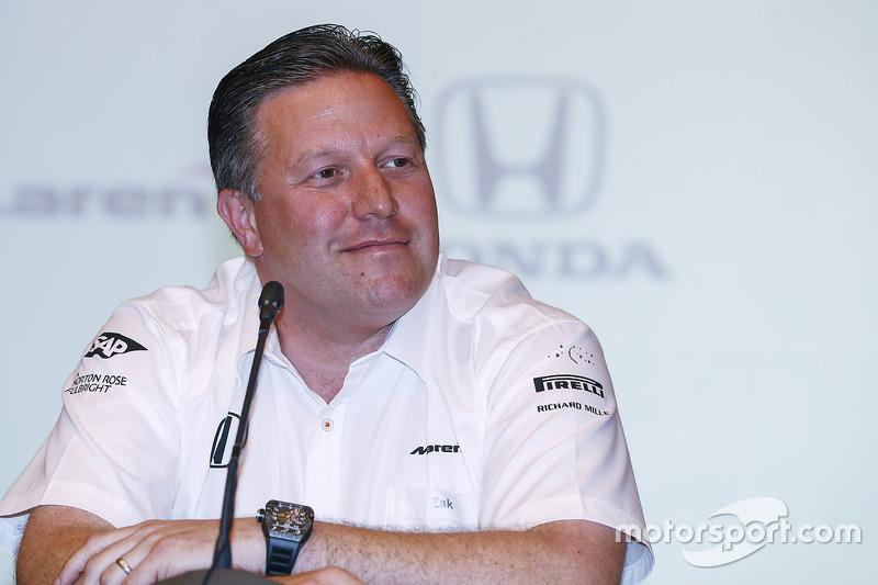 Zak Brown, Executive Director, McLaren Technology Group, announce Fernando Alonso's deal to race in the 2017 Indianapolis 500 in an Andretti Autosport run McLaren Honda car