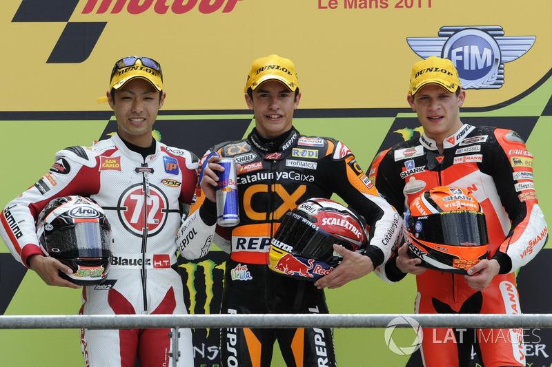Podio: 1º Marc Márquez, 2º Yuki Takahashi, 3º Stefan Bradl