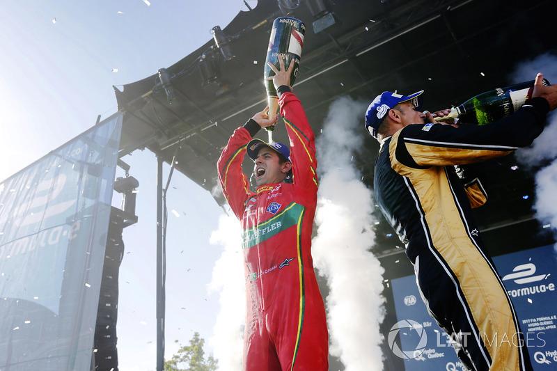 Lucas di Grassi, ABT Schaeffler Audi Sport, and Stéphane Sarrazin, Techeetah, celebrate on the podiu