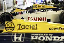 A 1985 Keke Rosberg Williams FW10 Honda, to the right of its replacement, the FW11