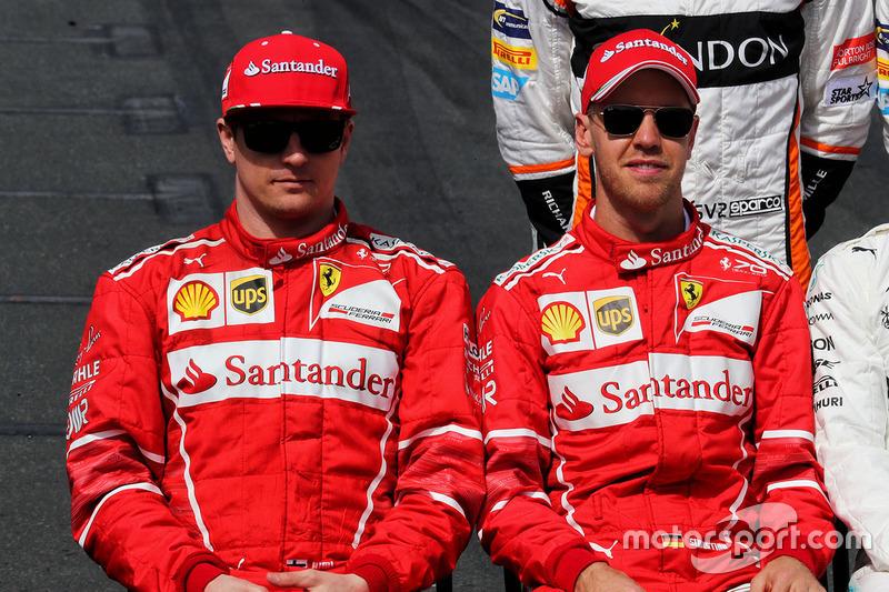 Kimi Räikkönen, Ferrari; Sebastian Vettel, Ferrari