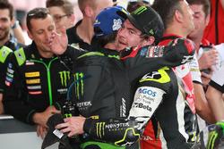 Second place Johann Zarco, Monster Yamaha Tech 3, Race winner Cal Crutchlow, Team LCR Honda