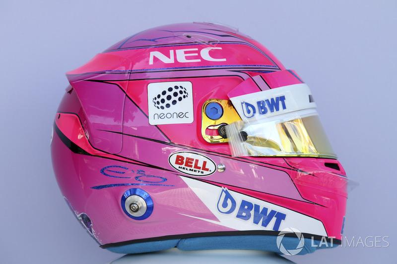Le casque de Esteban Ocon, Force India F1