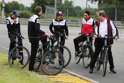 Alexander Wurz, Fernando Alonso, Sébastien Buemi, Kazuki Nakajima, Jose Maria Lopez, Toyota Gazoo Racing bike the track