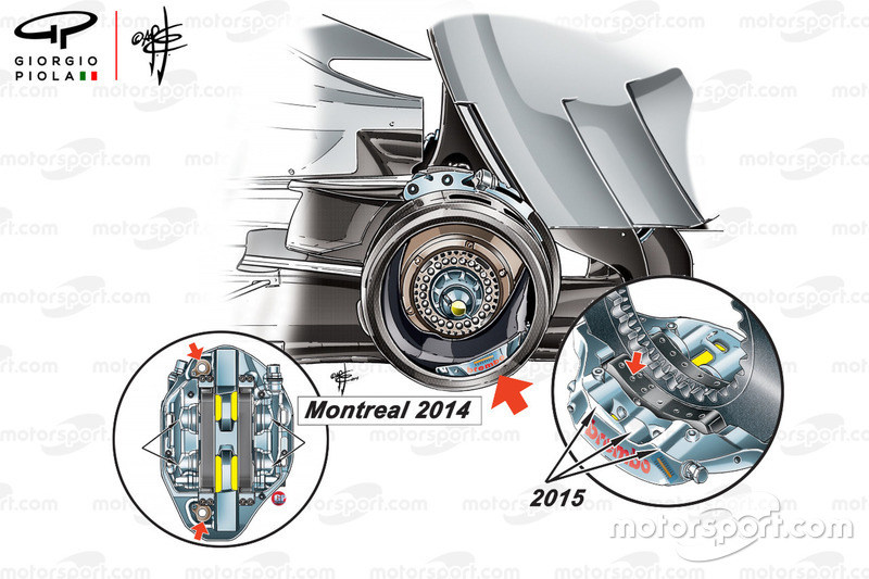 Mercedes W05 and W06 rear brakes comparison