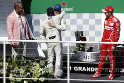 Podium: winner Sebastian Vettel, Ferrari, second place Valtteri Bottas, Mercedes AMG F1, Rubens Barrichello, celebrate on the podium with Felipe Massa, Williams