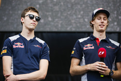 Daniil Kvyat, Scuderia Toro Rosso, Brendon Hartley, Scuderia Toro Rosso, op het podium