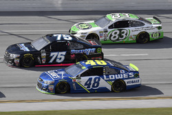 Jimmie Johnson, Hendrick Motorsports Chevrolet, Brendan Gaughan, Beard Motorsports, Beard Oil Distributing Chevrolet SS, and Gray Gaulding, BK Racing Toyota