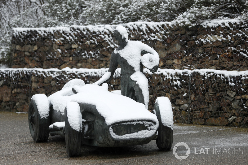 Snow covered statue at the circuit