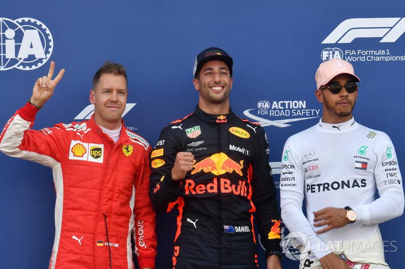 Start tiga besar: 1. Daniel Ricciardo, Red Bull Racing, 2. Sebastian Vettel, Ferrari, Pole sitter , 3. Lewis Hamilton, Mercedes-AMG F1