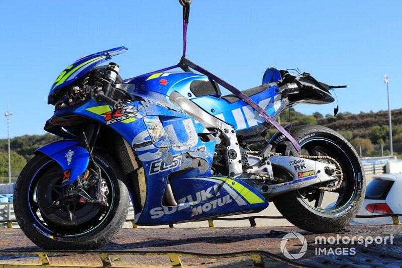 Moto accidentada de Joan Mir, Team Suzuki ECStar