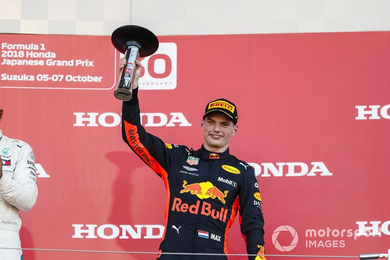 Le troisième Max Verstappen, Red Bull Racing, sur le podium