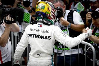 Lewis Hamilton, Mercedes AMG F1, celebrates pole in Parc Ferme