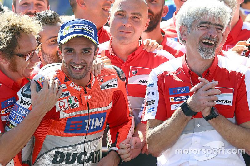 Winner Andrea Iannone, Ducati Team and Gigi Dall'Igna, Ducati Team General Manager