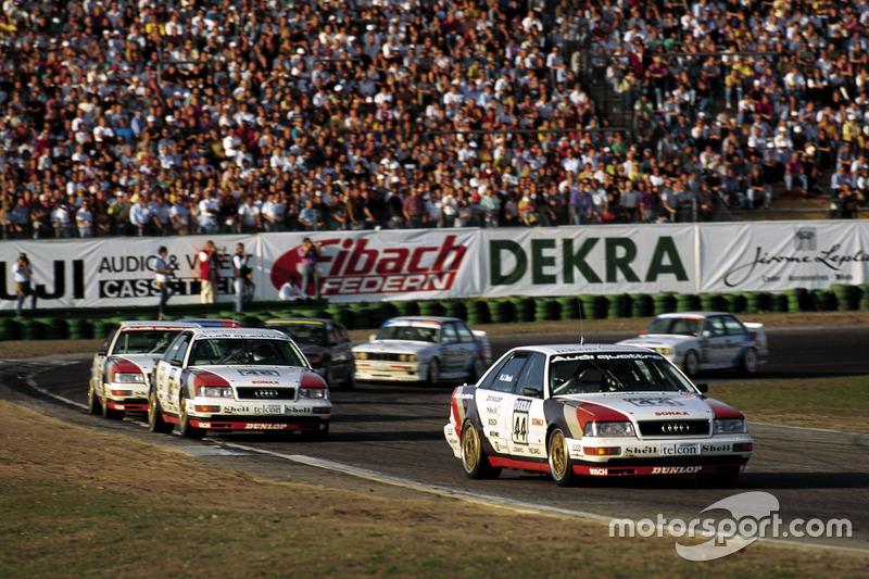 Hans-Joachim Stuck, Audi V8 quattro, vor seinen Audi-Markenkollegen Frank Jelinski und Walter Röhrl