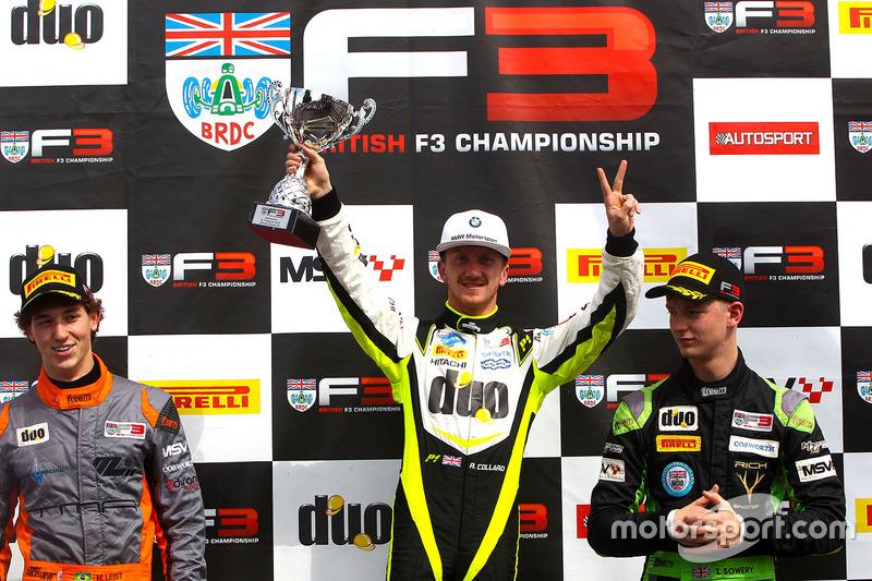 Podio: il vincitore della gara Ricky Collard, Carlin, il secondo classificato Matheus Leist, Double R Racing, il terzo classificato Toby Sowery, Lanan Racing