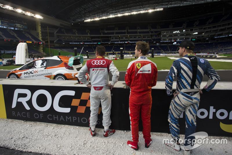 Tom Kristensen, Sebastian Vettel y Scott Speed, durante el calentamiento
