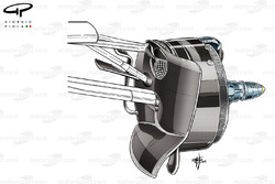 Mercedes W06 brake duct and front calipers design