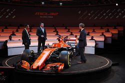 Yusuke Hasegawa, Senior Managing Officer, Honda, Eric Boullier, Racing Director, McLaren, on stage at the launch of the McLaren MCL32