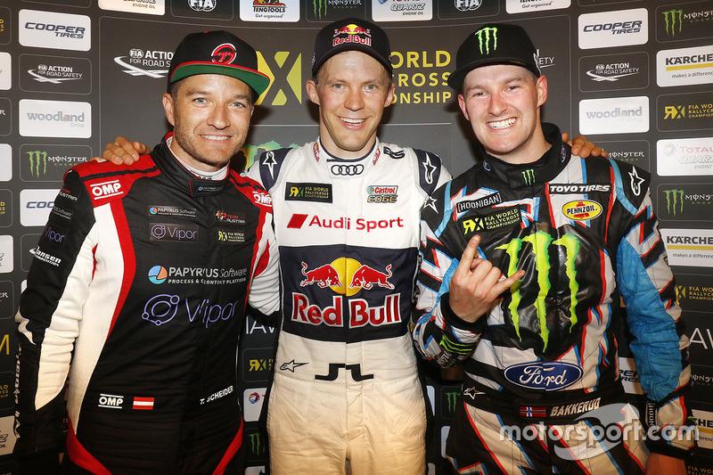 Ganador Mattias Ekström, EKS RX, segundo lugar Timo Scheider, MJP Racing Team Austria, tercer lugar