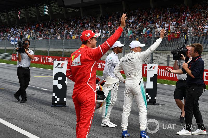 Sebastian Vettel, Ferrari, Lewis Hamilton, Mercedes AMG F1 and Valtteri Bottas, Mercedes AMG F1 talk, Davide Valsecchi, Sky Italia