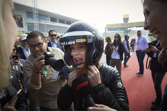 Actress Millie Bobby Brown prepares for her Pirelli Hot Lap experience with Lewis Hamilton, Mercedes AMG F1