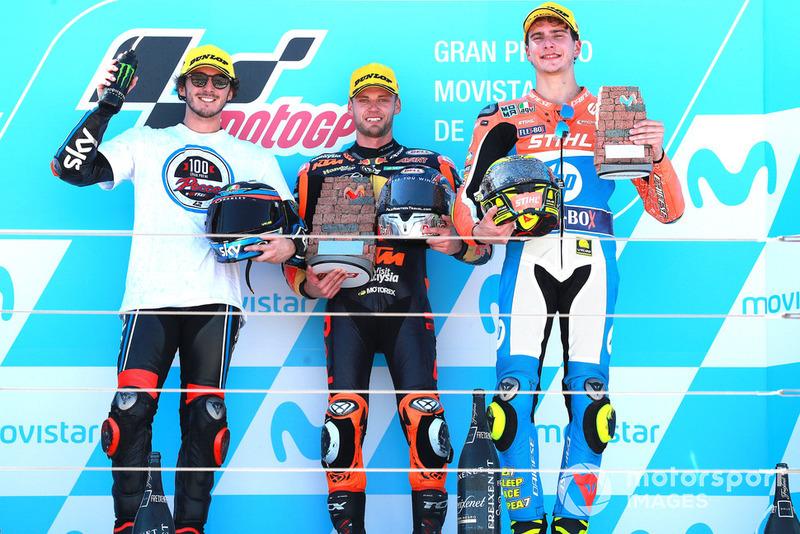 Francesco Bagnaia, Sky Racing Team VR46 Brad Binder, Red Bull KTM Ajo Lorenzo Baldassarri, Pons HP40