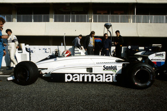 Nelson Piquet , Brabham BMW BT51, as teammate Riccardo Patrese, looks on