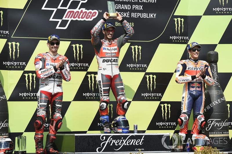 Podium: 1. Andrea Dovizioso, Ducati Team, 2. Jorge Lorenzo, Ducati Team, 3. Marc Marquez, Repsol Honda Team