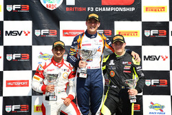 Podium: race winner Nicolai Kjaergaard, Carlin, second place Kush Maini, Lanan Racing, third place Linus Lundqvist, Double R