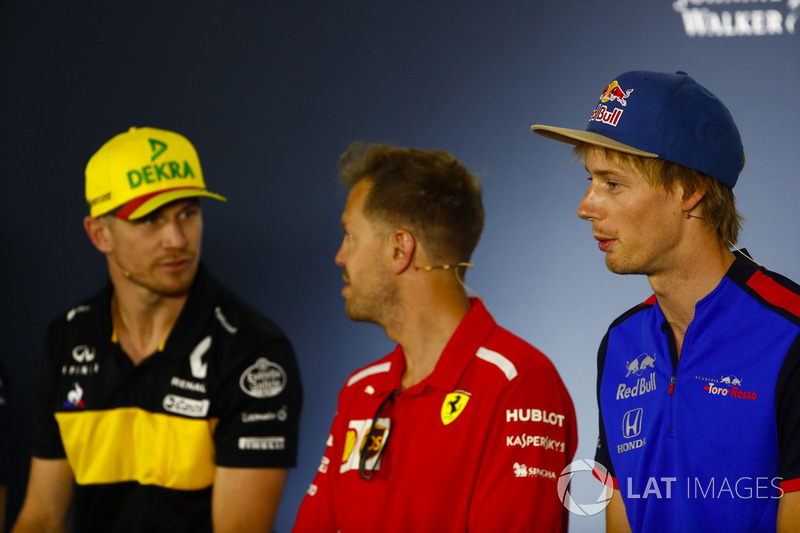 Konferensi pers: Nico Hulkenberg, Renault Sport F1 Team, Sebastian Vettel, Ferrari, dan Brendon Hartley, Toro Rosso