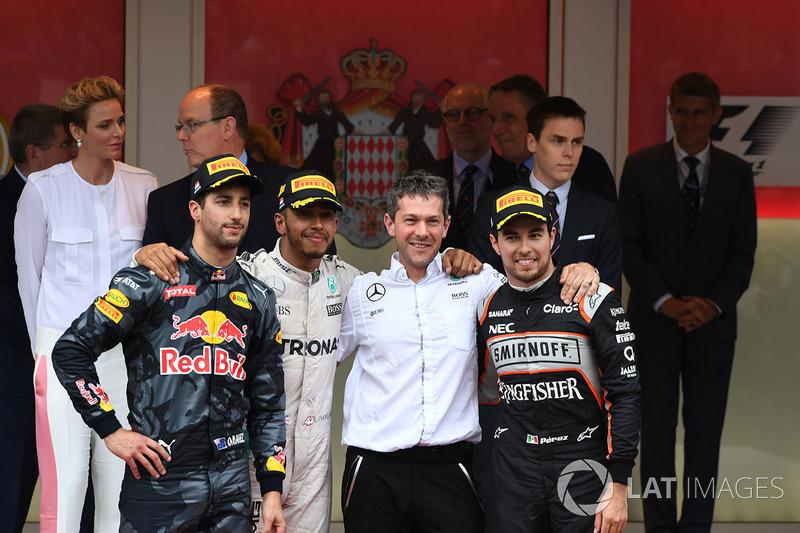 2016: 1. Lewis Hamilton, 2. Daniel Ricciardo, 3. Sergio Perez