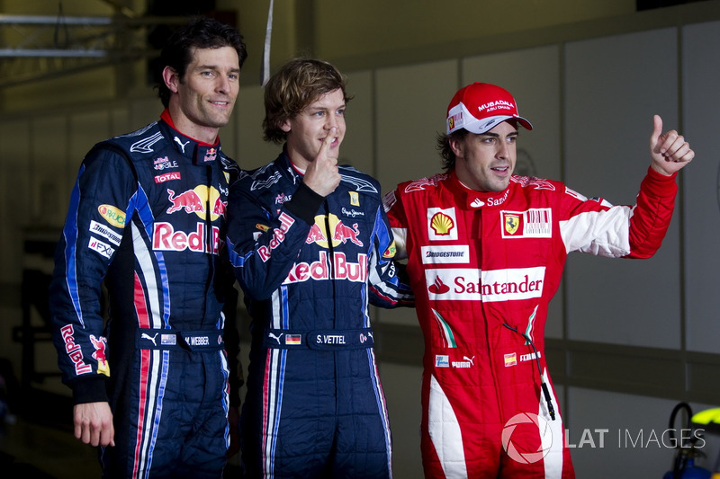 Le top 3 des qualifications : Sebastian Vettel, Red Bull Racing, Mark Webber, Red Bull Racing, Fernando Alonso, Ferrari