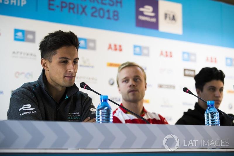 Mitch Evans, Jaguar Racing, Felix Rosenqvist, Mahindra Racing, and Michael Benyahia, Venturi Formula E, in the press conference