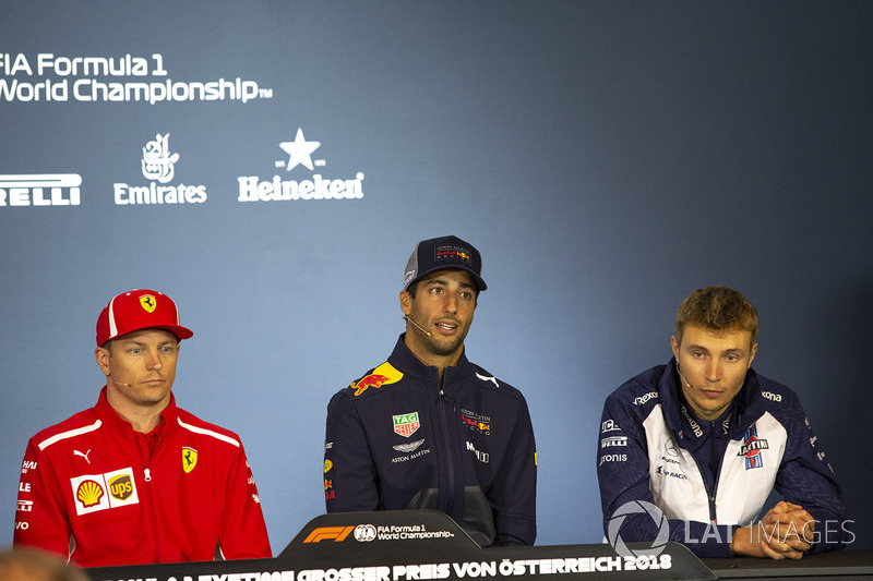 Kimi Raikkonen, Ferrari, Daniel Ricciardo, Red Bull Racing and Sergey Sirotkin, Williams in the Press Conference