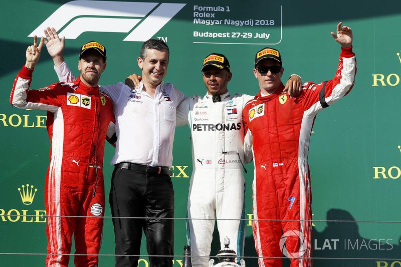 12. GP Hongaria - Podium: Lewis Hamilton, Sebastian Vettel, Kimi Raikkonen