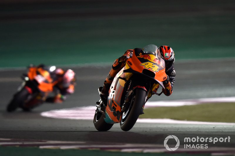 Pol Espargaro, Red Bull KTM Factory Racing, leads Johann Zarco, KTM Factory Racing