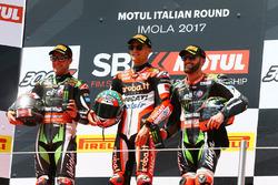 Podium: race winner Chaz Davies, Ducati Team, second place Jonathan Rea, Kawasaki Racing, third place Tom Sykes, Kawasaki Racing