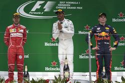 Podium: second place Sebastian Vettel, Ferrari, race winner Lewis Hamilton, Mercedes AMG, third plac