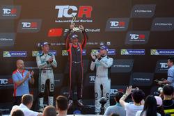 Podium: Race winner Gabriele Tarquini, BRC Racing Team, Hyundai i30 N TCR, second place Jean-Karl Vernay, Leopard Racing Team WRT, Volkswagen Golf GTi TCR, third place Rob Huff, Leopard Racing Team WRT, Volkswagen Golf GTi TCR
