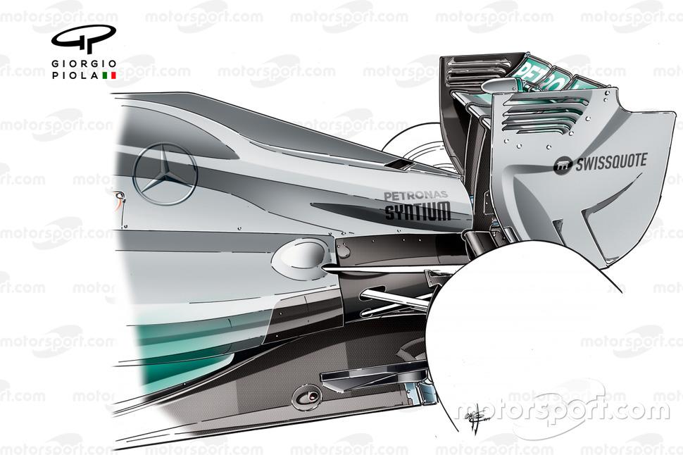 Cubierta del motor del Mercedes W05.