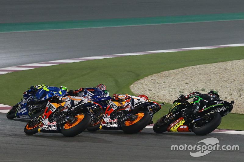 Andrea Iannone, Team Suzuki MotoGP; Maverick Viñales, Yamaha Factory Racing; Marc Marquez, Repsol Ho