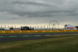 Track view, ferris wheel and stage