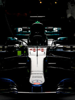 The nose and front wing detail of Lewis Hamilton, Mercedes-Benz F1 W08 in the garage