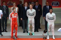 Podium: race winner Nico Rosberg, Mercedes AMG F1, second place Sebastian Vettel, Ferrari, third place Lewis Hamilton, Mercedes AMG F1