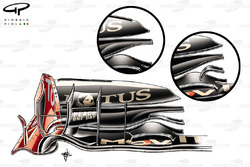 Lotus Renault R31 front wings comparison