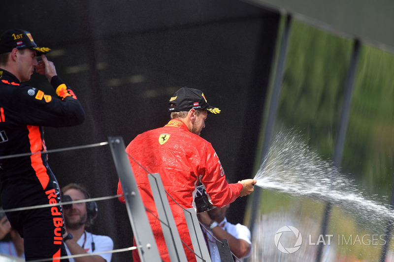 Max Verstappen, Red Bull Racing y Sebastian Vettel, Ferrari