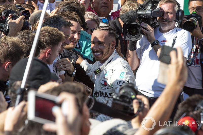 Lewis Hamilton, Mercedes-AMG F1 celebra su victoria en el GP de Hungría