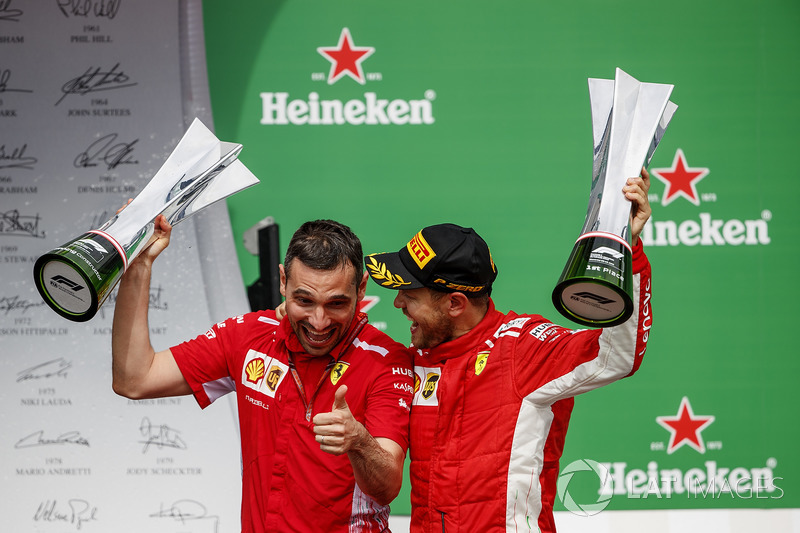 Nicola Bariselli, Race Engineer, Ferrari, and Sebastian Vettel, Ferrari, 1st position, with the winn